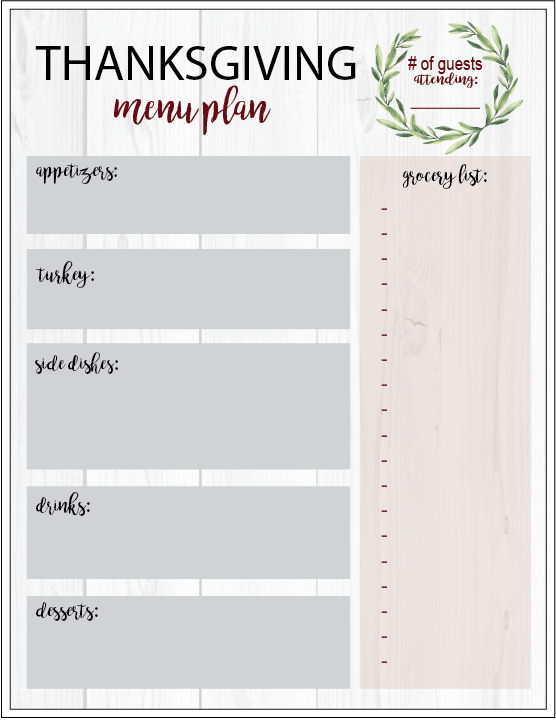 photograph regarding Thanksgiving Menu Planner Printable called THANKSGIVING Working day PLANNER PRINTABLE - Maddie Butterfield Weblog